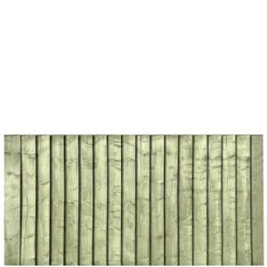 Green Pressure Treated Featheredge 6x3 Fence Panel