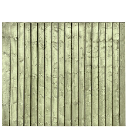 Green Pressure Treated Featheredge 6x5 Fence Panel