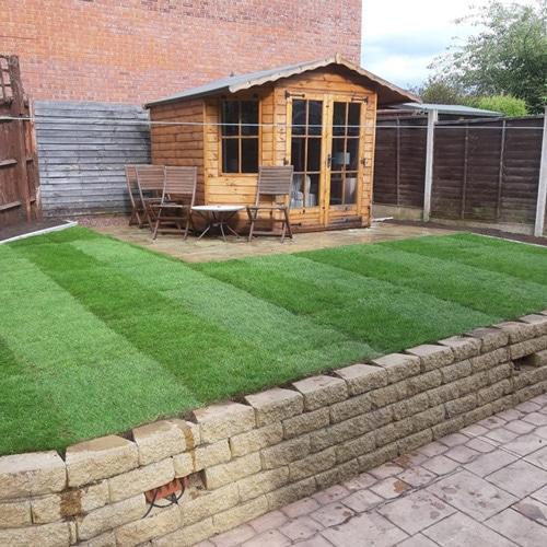 Freshly laid garden turf