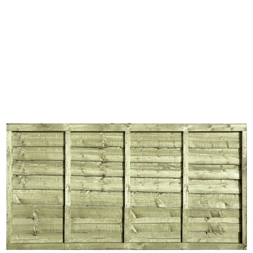 Waney Lap Green Pressure Treated 6x3 Fence Panel