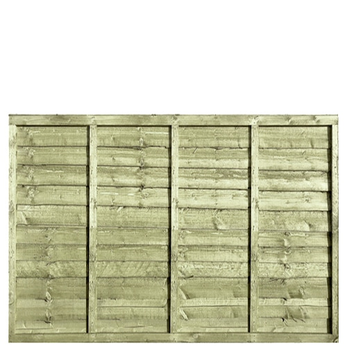 Waney Lap Green Pressure Treated 6x4 Fence Panel