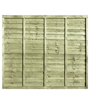 Waney Lap Green Pressure Treated 6x5 Fence Panel