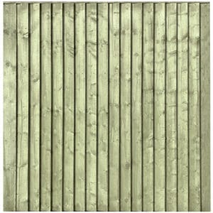 Green Pressure Treated Featheredge 6x6 Fence Panel