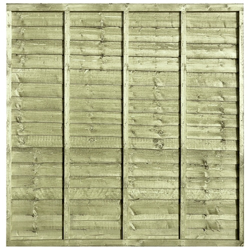 Waney Lap Green Pressure Treated 6x6 Fence Panel